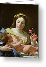 The Virgin And Child With A Rose Greeting Card