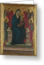 The Virgin And Child With Four Angels Greeting Card