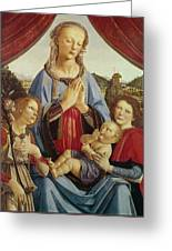 The Virgin And Child With Two Angels Greeting Card