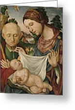 The Virgin And Saint Joseph  Adoring The Christ Child Greeting Card