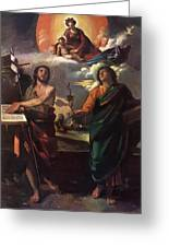 The Virgin Appearing To Saints John The Baptist And John The Evangelist 1520 Greeting Card