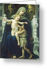 The Virgin Baby Jesus And Saint John The Baptist Greeting Card