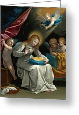 The Virgin Sewing Accompanied By Four Angels. La Couseuse Greeting Card