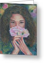 The Vision Romantic Figurative Floral Pastel Painting Greeting Card