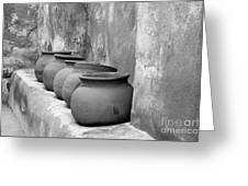 The Wall Of Pots Greeting Card