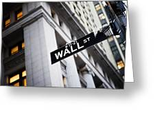 The Wall Street Street Sign Greeting Card by Justin Guariglia