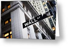 The Wall Street Street Sign Greeting Card