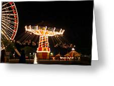 The Wave Swinger Ride Navy Pier Chicago Greeting Card