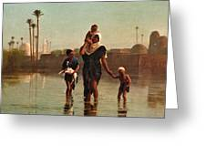 The Way From The Village. Time Of Inundation. Egypt Greeting Card