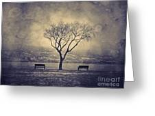 The Winter And The Benches Greeting Card