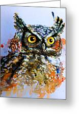 The Wise Old Owl Greeting Card by Steven Ponsford