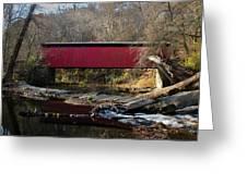 The Wissahickon Creek In Autumn - Thomas Mill Covered Bridge Greeting Card
