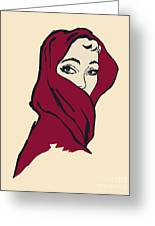 The Woman With The Crimson Veil Greeting Card