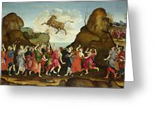 The Worship Of The Egyptian Bull God Apis Greeting Card