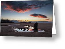 The Wreck Of The Helvetia And Worms Head Greeting Card