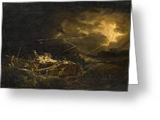 The Wreck Of The H.m.s. Deal Castle Off Puerto Rico During The Great Hurricane Of 1780 Greeting Card