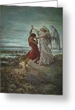 The Wrestle Of Jacob 1855 Greeting Card