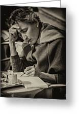 The Writer Candid Shot Venice_dsc1374_02282017 Greeting Card