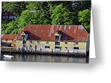 The 1905 Wooden Andreas Odfjell Warehouse On Bergen Harbor Greeting Card