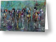Then Came Seven Horses Greeting Card