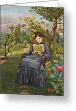 Therese Reading In The Park Of Meric Greeting Card