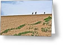 They Are Not At The Top Of This Dune Climb In Sleeping Bear Dunes National Lakeshore-michigan Greeting Card