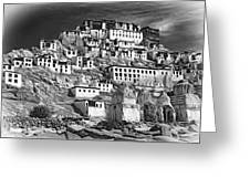 Thiksey Monastery - Paint Bw Greeting Card