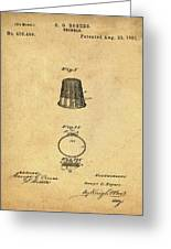 Thimble Patent 1891 In Sepia Greeting Card