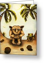 Thinking About Coconuts Greeting Card by Leah Saulnier The Painting Maniac
