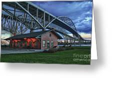 Thomas Edison Train Depot And Blue Water Bridges Greeting Card