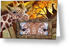 Those Eyes     Giraffe  Safari Series No 3 Greeting Card