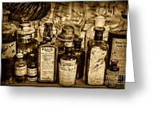 Those Old Apothecary Bottles In Sepia Greeting Card