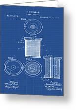 Thread Spool Patent 1877 Blueprint Greeting Card