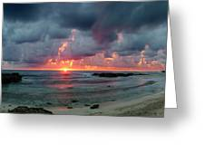 Threatening Sky Above The Caribbean Sea Off Isle De Mujeras' North Shore Greeting Card