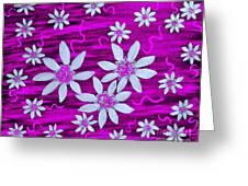 Three And Twenty Flowers On Pink Greeting Card