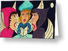 Three Angel Carolers Greeting Card