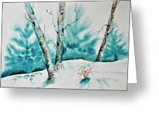 Three Aspens On A Snowy Slope Greeting Card