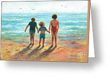 Three Beach Children Siblings  Greeting Card
