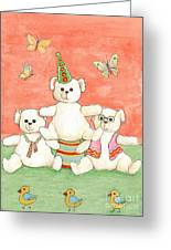 Three Bears Ready For The Party Greeting Card