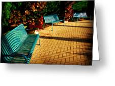 Three Benches Greeting Card