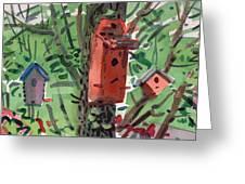 Three Birdhouses Greeting Card