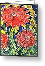 Three Red Blooms Greeting Card