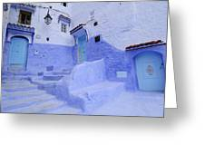 Three Blue Doors In Chefchaouen  Greeting Card