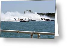 Three Boats Approaching The Start  Greeting Card