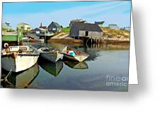 Three Boats At Peggys Cove Greeting Card