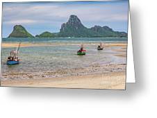 Three Boats Thailand Greeting Card