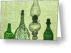 Three Bottles And A Lamp Greeting Card