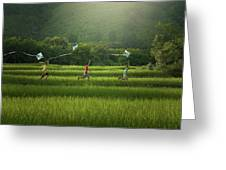 Three Boys Are Happy To Play Kites At Summer Field In Nature In  Greeting Card