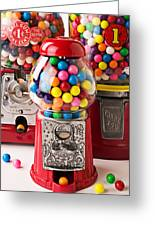 Three Bubble Gum Machines Greeting Card