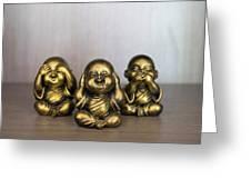 Three Buddha Statue Greeting Card